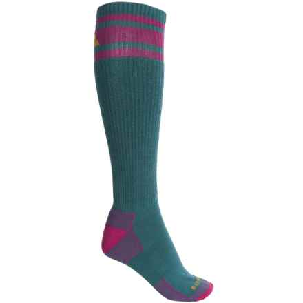 Cabot & Sons Varsity Stripe Ski Socks - Merino Wool, Mid Calf (For Women) in Teal/Bosenberry - Closeouts