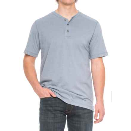 Cactus Northcrest Henley Shirt - Short Sleeve (For Men and Tall Men) in Blue Heather - Closeouts