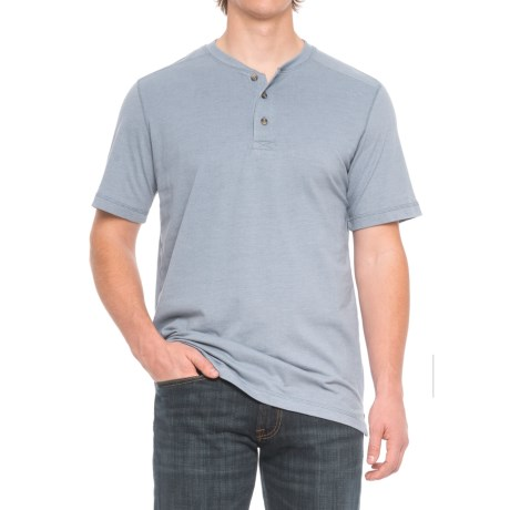 Cactus Northcrest Henley Shirt - Short Sleeve (For Men and Tall Men) in Blue Heather