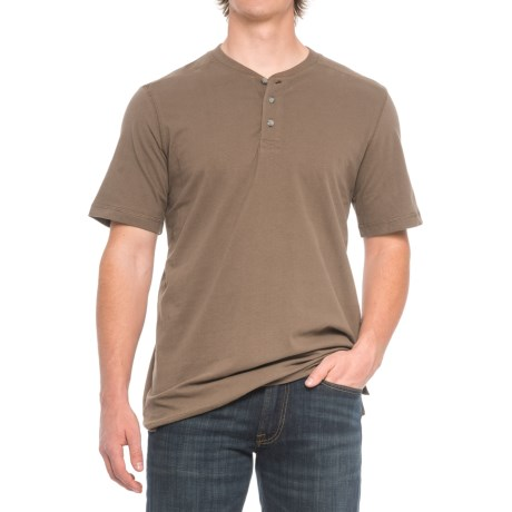 Cactus Northcrest Henley Shirt - Short Sleeve (For Men and Tall Men) in Chocolate Chip
