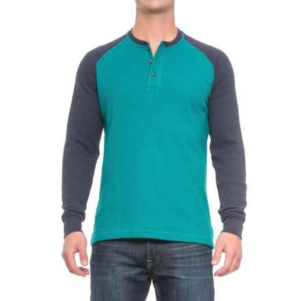 Cactus Thermal Henley Shirt - Long Sleeve (For Men) in Teal/Navy - Closeouts
