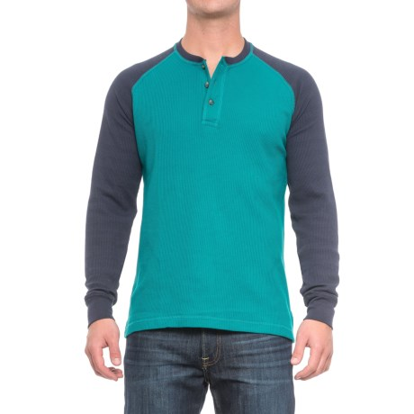Cactus Thermal Henley Shirt - Long Sleeve (For Men) in Teal/Navy