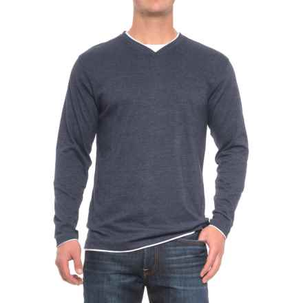 Cactus V-Neck Shirt - Long Sleeve (For Men) in Navy - Closeouts