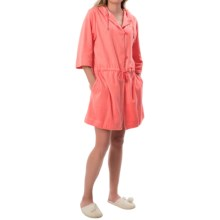 Calida After Shower Short Bathrobe - Hooded, 3/4 Sleeve (For Women) in Coral - Closeouts