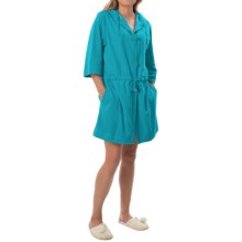 Calida After Shower Short Bathrobe - Hooded, 3/4 Sleeve (For Women) in Jadeite Turquoise - Closeouts