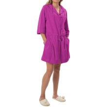 Calida After Shower Short Bathrobe - Hooded, 3/4 Sleeve (For Women) in Purple Wine - Closeouts