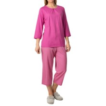 Calida Appetizer Pajamas - 3/4 Sleeve (For Women) in Pink Petunia - Closeouts