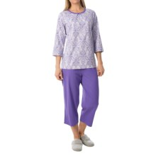 Calida Appetizer Pajamas - 3/4 Sleeve (For Women) in Purple Opulance - Closeouts