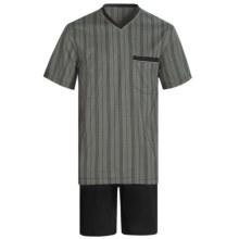 Calida Atlantic Pajamas - V-Neck, Short Sleeve (For Men) in Black - Closeouts