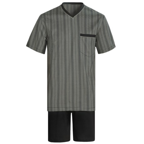 Calida Atlantic Pajamas - V-Neck, Short Sleeve (For Men) in Black