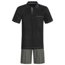 Calida Atlantic Polo Shirt Pajamas - Short Sleeve (For Men) in Black - Closeouts