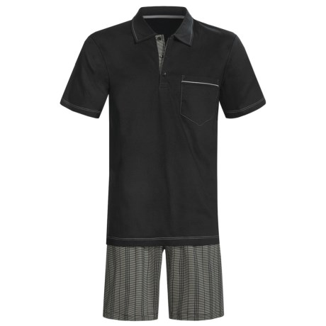 Calida Atlantic Polo Shirt Pajamas - Short Sleeve (For Men) in Black