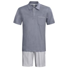 Calida Atlantic Polo Shirt Pajamas - Short Sleeve (For Men) in Smoke - Closeouts