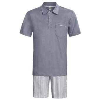 Calida Atlantic Polo Shirt Pajamas - Short Sleeve (For Men) in Smoke