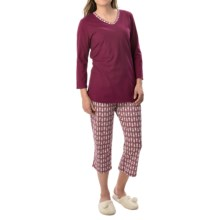 Calida Autumn Special Pajamas - 3/4 Sleeves (For Women) in Magenta Purple - Closeouts