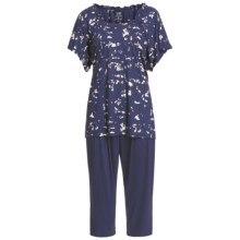 Calida Blue Lagoon Capri Pajamas - Micromodal®, Short Sleeve (For Women) in Astral Blue - Closeouts