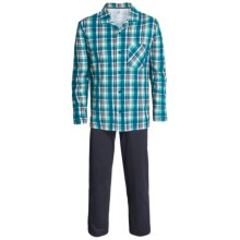 Calida by Night Cotton Pajamas - Long Sleeve (For Men) in White - Closeouts