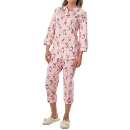 Calida Candyland Pajamas - 3/4 Sleeve (For Women) in Rose Water - Closeouts