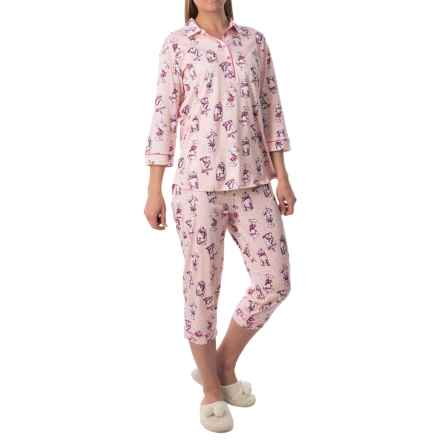 Calida Candyland Pajamas - Cotton Jersey, 3/4 Sleeve (For Women) in Rose Water - Closeouts