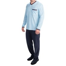 Calida Cedar Cotton Pajamas - Long Sleeve (For Men) in Brilliant Blue - Closeouts