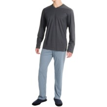 Calida Cheerful Pajamas - Long Sleeve (For Men) in Anthracite - Closeouts