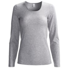 Calida Comfort Single-Jersey Cotton Shirt - Long Sleeve (For Women) in Grey Heather - Closeouts