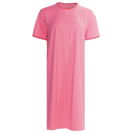 Calida Coral Reef Nightshirt - Single-Jersey Cotton, Short Sleeve (For Women) in Berry Pink