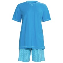 Calida Coral Reef Pajamas - Single-Jersey Cotton, Short Sleeve (For Women) in Blithe Blue - Closeouts