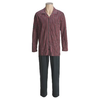 Calida Cotton Knit Pajamas - Long Sleeve (For Men) in Onyx