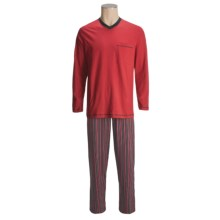 Calida Cotton Knit Pajamas - V-Neck, Long Sleeve (For Men) in Chilli Pepper - Closeouts