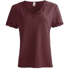 Calida Cotton T-Shirt with Fancy Lace - Short Sleeve (For Women) in Old Vine - Closeouts