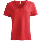 Calida Cotton T-Shirt with Fancy Lace - Short Sleeve (For Women)