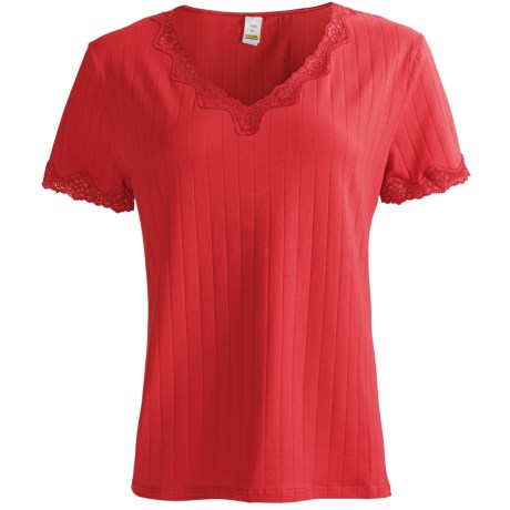 Calida Cotton T-Shirt with Fancy Lace - Short Sleeve (For Women) in Tango