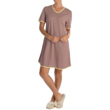 Calida Daisy Bunch Nightgown - Short Sleeve (For Women) in Marina Blue - Closeouts