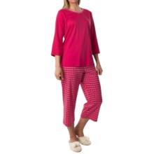 Calida Dandelion Cotton Interlock Pajamas - 3/4 Sleeve (For Women) in Anemone Pink - Closeouts