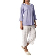 Calida Dandelion Cotton Interlock Pajamas - 3/4 Sleeve (For Women) in Sweet Lavender - Closeouts