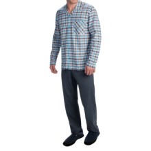 Calida Dayleaf Cotton Button-Front Pajamas - Long Sleeve (For Men) in Brilliant Blue - Closeouts