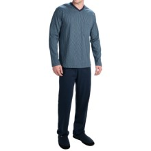 Calida Dayleaf Cotton Knit Pajamas - V-Neck, Long Sleeve (For Men) in Dark Blue - Closeouts