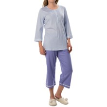 Calida Deauville Pajamas - 3/4 Sleeve (For Women) in Blue Violet - Closeouts