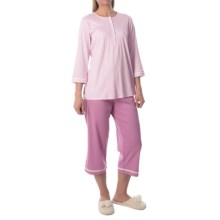 Calida Deauville Pajamas - 3/4 Sleeve (For Women) in New Violet Purple - Closeouts