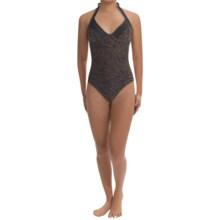 Calida Dune Halter Swimsuit - 1-Piece (For Women) in Black/Brown Zebra - Closeouts