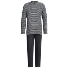 Calida Dune Pure Cotton Pajamas - Single Jersey, Long Sleeve (For Men) in Onyx - Closeouts