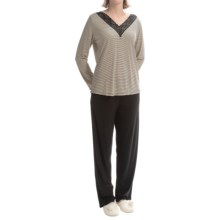 Calida Early Bird Pajamas - Cotton Jersey-Micromodal®, V-Neck, Long Sleeve (For Women) in Black - Closeouts