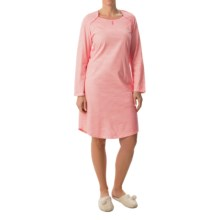 Calida Early Flower Nightgown - Long Sleeve (For Women) in Anemone Pink - Closeouts
