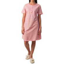 Calida Early Flower Nightshirt - Cotton Jersey, Short Sleeve (For Women) in Anemone Pink - Closeouts