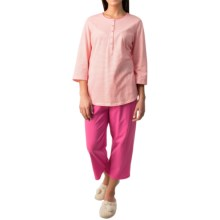Calida Early Flower Pajamas - Cotton Jersey, 3/4 Sleeve (For Women) in Anemone Pink - Closeouts