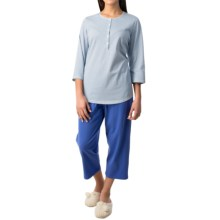 Calida Early Flower Pajamas - Cotton Jersey, 3/4 Sleeve (For Women) in Victoria Blue - Closeouts