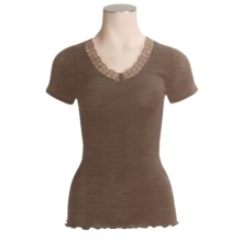 Calida Embrace V-Neck Shirt - Wool-Silk Rib, Short Sleeve (For Women) in Java - Closeouts
