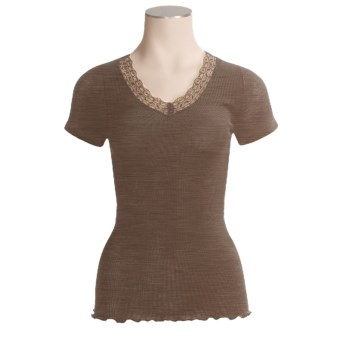 Calida Embrace V-Neck Shirt - Wool-Silk Rib, Short Sleeve (For Women)