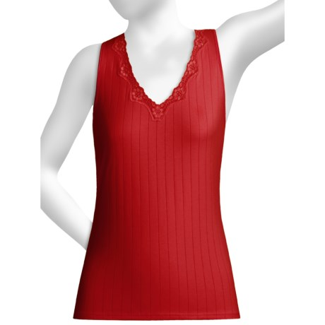 Calida Etude Tank Top - Lace Trim (For Women) in Berry Pink